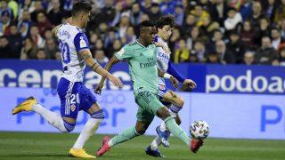 Vinicius durante el Zaragoza-Real Madrid. (AFP)