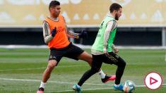 Hazard durante el entrenamiento con el Real Madrid. (realmadrid.com)