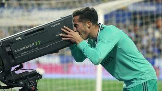 Lucas Vázquez celebra su gol ante el Zaragoza (EFE).