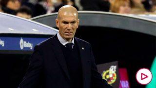 Zidane, durante el Real Zaragoza – Real Madrid (EFE).