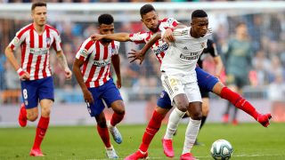Vinicius Junior, durante el derbi madrileño que enfrentó al Real Madrid y al Atlético (EFE).
