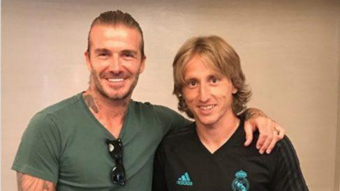 Beckham y Modric, en la gira veraniega de 2017 (Instagram).