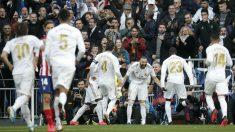 Celebración del gol de Benzema. (Getty)