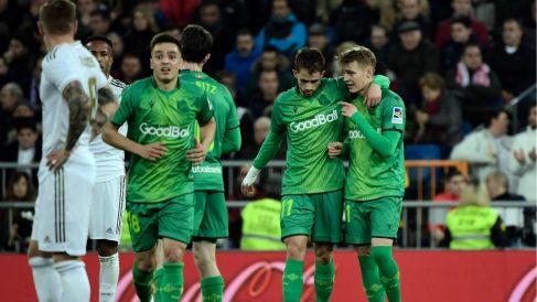 Odegaard no celebra su gol ante el Real Madrid. (AFP)