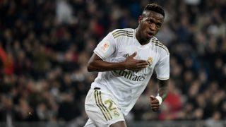 Vinicius, tras anotar un gol. (AFP)