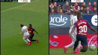 Posible penalti de Estupiñán sobre Modric.