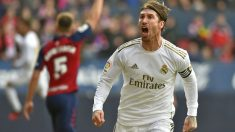 Sergio Ramos marca el 1-2 para el Real Madrid ante Osasuna. (AFP)