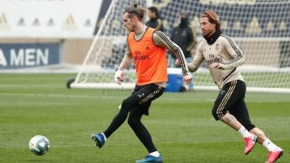 Bale, durante el entrenamiento del Real Madrid. (realmadrid.com)