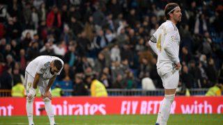 Ramos y Benzema, en los minutos finales del Real Madrid – Celta (AFP).
