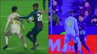 El Real Madrid pidió penalti por mano de Campaña y Toño.