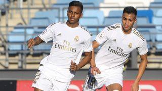 Rodrygo y Reinier, durante un partido con el Castilla. (EFE)
