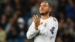 Eden Hazard se lamenta durante un partido con el Real Madrid. (AFP)