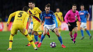Fabián, en acción ante el Barcelona. (Getty)