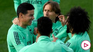 El Real Madrid, durante un entrenamiento. (AFP)