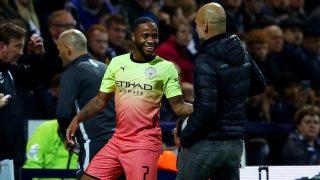 Sterling y Guardiola, en un partido del Manchester City. (Getty)