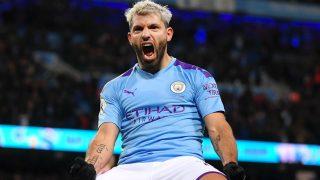 Agüero celebra un gol con el Manchester City. (Getty)