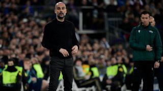 Guardiola, durante el duelo ante el Real Madrid. (AFP)