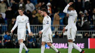Los jugadores del Real Madrid, durante el partido ante el Manchester City (AFP).