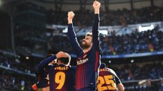 Gerard Piqué celebra un gol en el Bernabéu. (Getty)