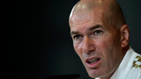 Zidane, en la rueda de prensa previa al Clásico (AFP).