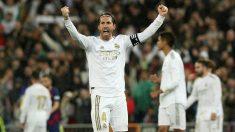 Sergio Ramos celebra la victoria contra el Barcelona. (EFE)