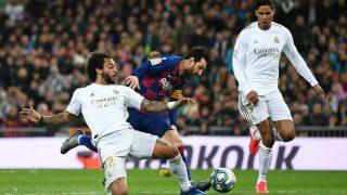 Marcelo, en el momento que frenó a Messi cuando el argentino iba solo a portería. (Getty)