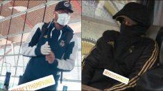 Thompkins usó una mascarilla en su viaje a Milán.