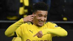 Jadon Sancho, celebra un gol con el Dortmund (AFP).