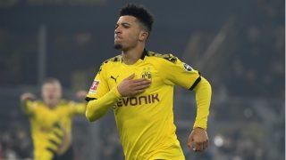 Jadon Sancho celebra un gol con el Borussia Dortmund (AFP).