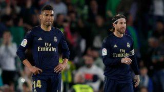 Ramos y Casemiro, durante el partido del Real Madrid ante el Betis (Getty).