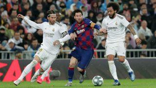 Ramos, Messi y Marcelo durante el último Clásico (Getty).