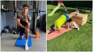 Raphael Varane y Lucas Vázquez realizando ejercicios en su domicilio. (Instagram)