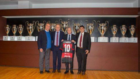 Florentino Pérez junto al directivo del Flamengo infectado de coronavirus.