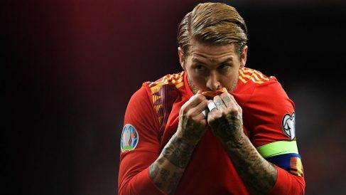Sergio Ramos celebra un gol con la selección española. (Getty)