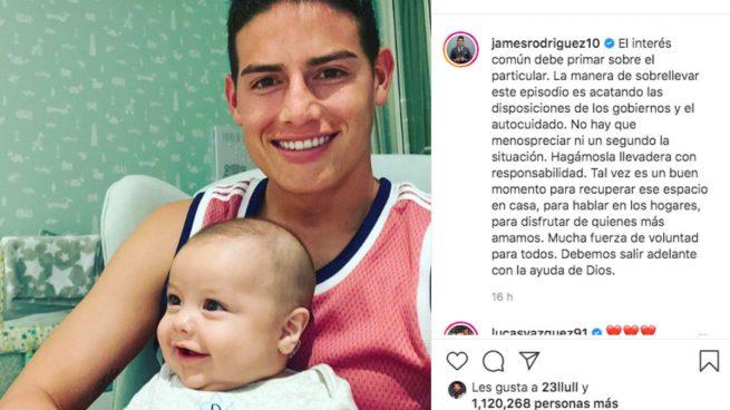 El esperanzador mensaje de James sobre el coronavirus con su bebé en brazos