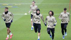 Mariano, Bale, James, Marcelo y Jovic durante un entrenamiento (AFP).
