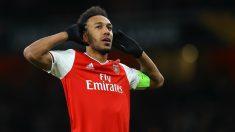 Pierre Aubameyang celebra un gol con el Arsenal esta temporada. (Getty)