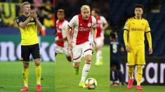 Haaland, Van de Beek y Sancho, objetivos de Real Madrid y Manchester United. (Getty)