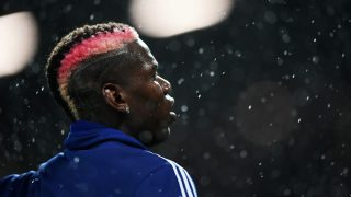 Paul Pogba, durante el calentamiento con el United en la presente temporada. (Getty)