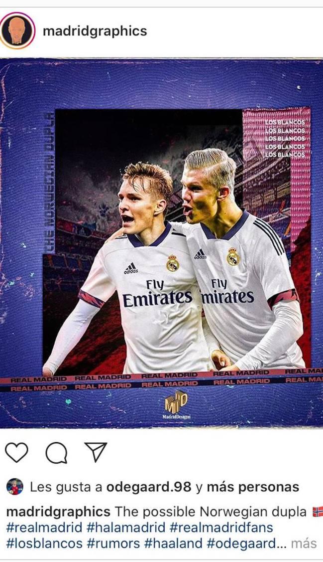 A Odegaard 'le gusta' celebrar un gol con Haaland en el Madrid