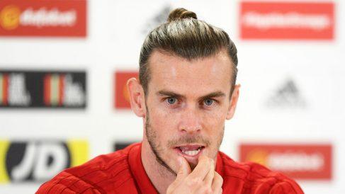 Bale, durante una rueda de prensa con su selección. (Getty)