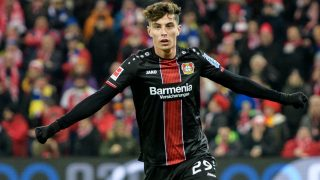 Kai Havertz celebra un gol con el Bayer Leverkusen. (Getty)