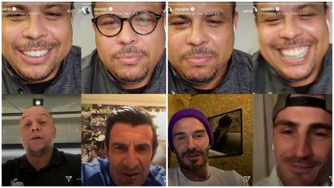 Ronaldo charló con Roberto Carlos, Figo, Beckham y Casillas en el reencuentro de Galácticos.
