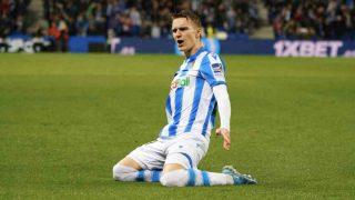 Martin Odegaard celebra un gol con la Real Sociedad. (AFP)