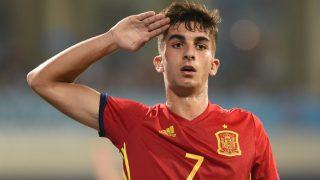 Ferran Torres celebra un gol con la selección sub-21. (AFP)