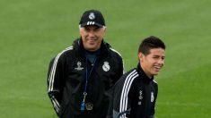James Rodríguez y Carlo Ancelotti, durante la etapa en la que coincidieron en el Real Madrid (Getty).