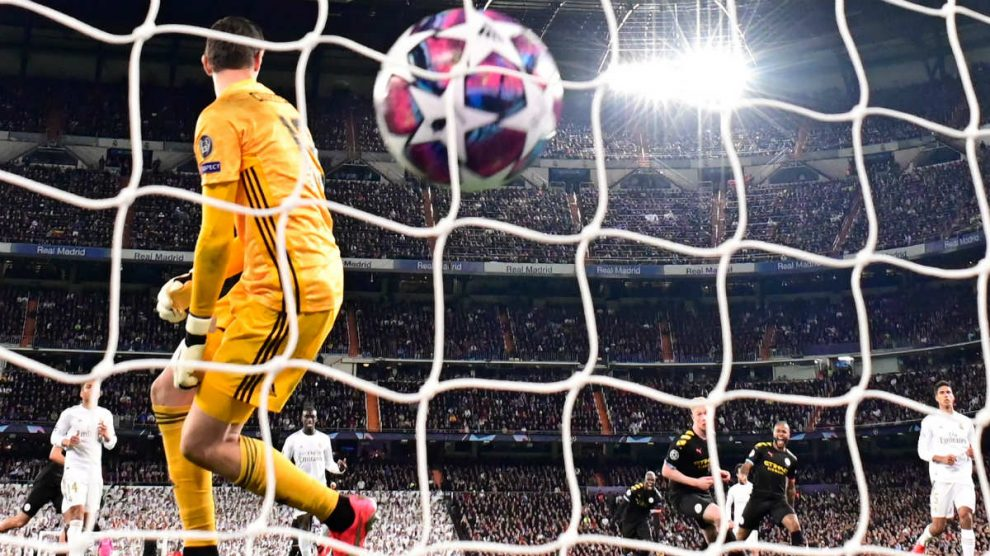 Sterling marca en el Real Madrid-City de Champions. (AFP)