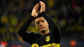Sancho, durante un partido con el Dortmund (AFP).
