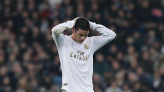 James Rodríguez durante un partido del Real Madrid (Getty).
