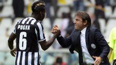 Pogba y Conte, en un partido cuando militaban en la Juventus. (AFP)